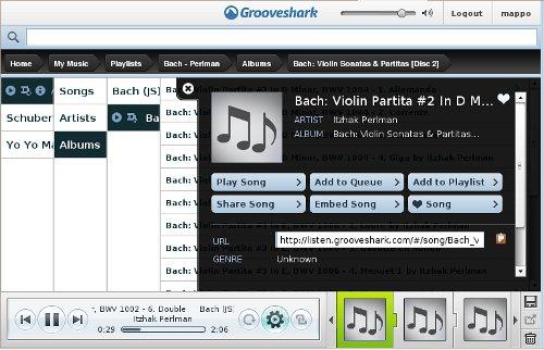 interfaz de Grooveshark