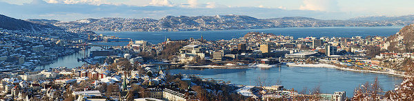Bergen city centre and surroundings Panorama