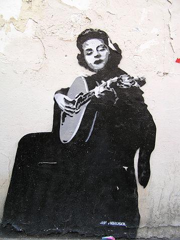 Grafiti de Amália Rodrigues en Lisboa