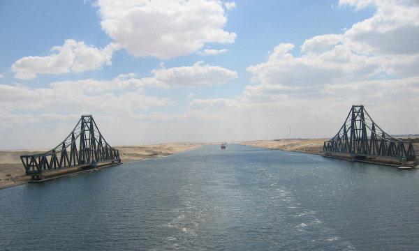 Canal de Suez con el Ferdan Railway Bridge