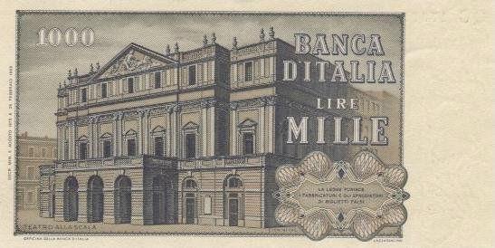 Billete de 1000 liras con Giuseppe Verdi  (reverso)